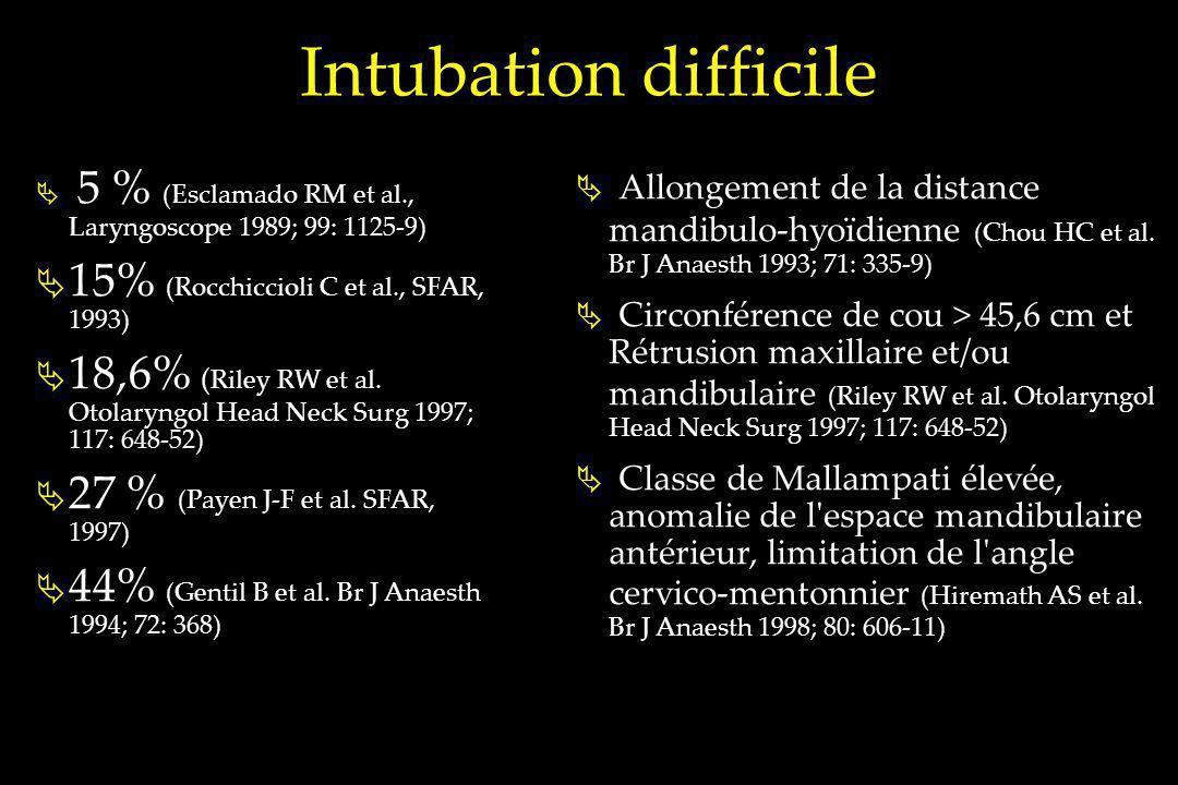 Intubation difficile 15% (Rocchiccioli C et al., SFAR, 1993)