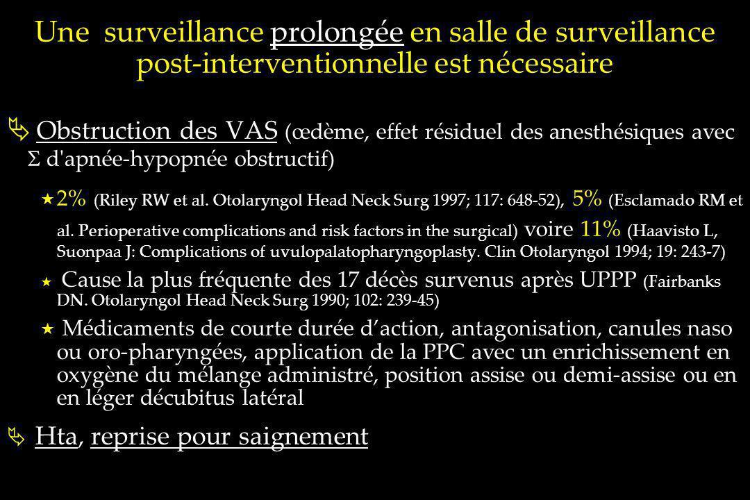 Une surveillance prolongée en salle de surveillance post-interventionnelle est nécessaire