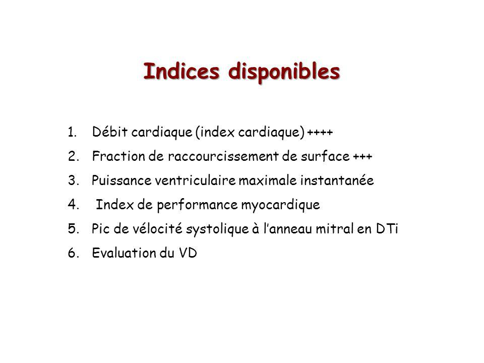 Indices disponibles Débit cardiaque (index cardiaque) ++++