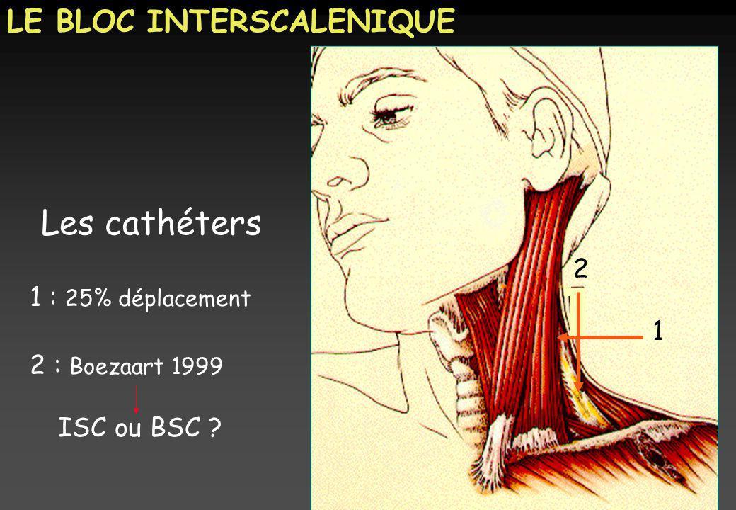 Titre Les cathéters LE BLOC INTERSCALENIQUE 2 1 : 25% déplacement 1