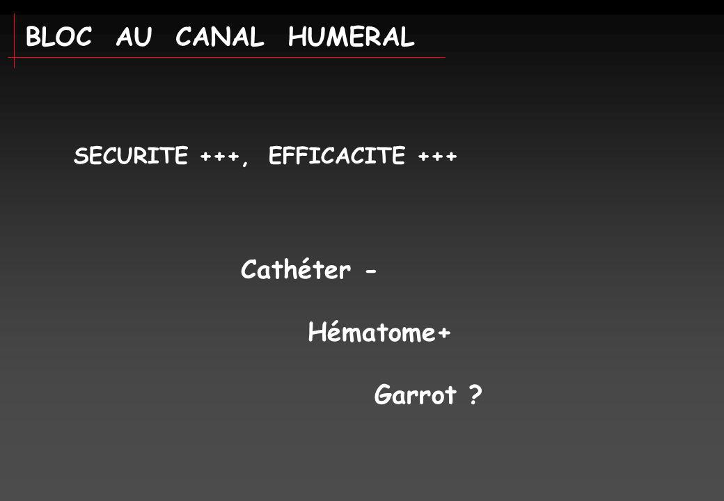 BLOC AU CANAL HUMERAL Cathéter - Hématome+ Garrot