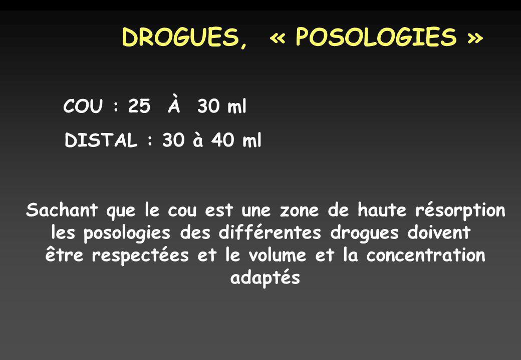 DROGUES, « POSOLOGIES » COU : 25 À 30 ml DISTAL : 30 à 40 ml