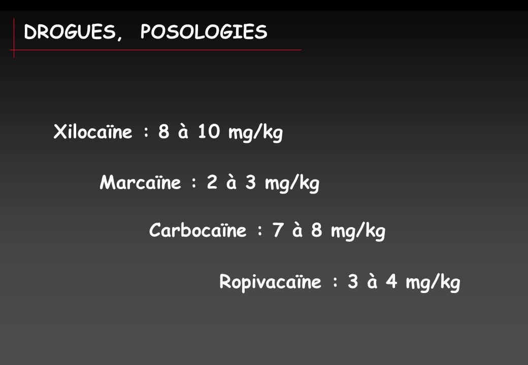DROGUES, POSOLOGIES Xilocaïne : 8 à 10 mg/kg. Marcaïne : 2 à 3 mg/kg.