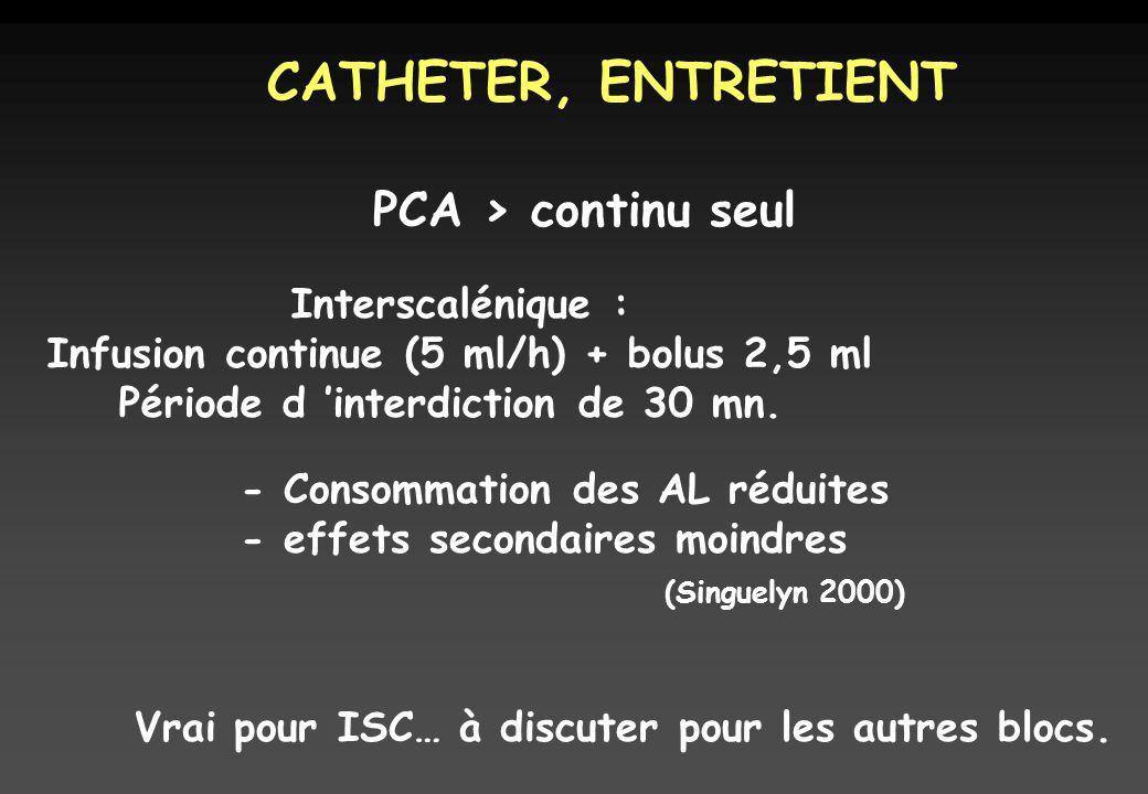CATHETER, ENTRETIENT PCA > continu seul Interscalénique :