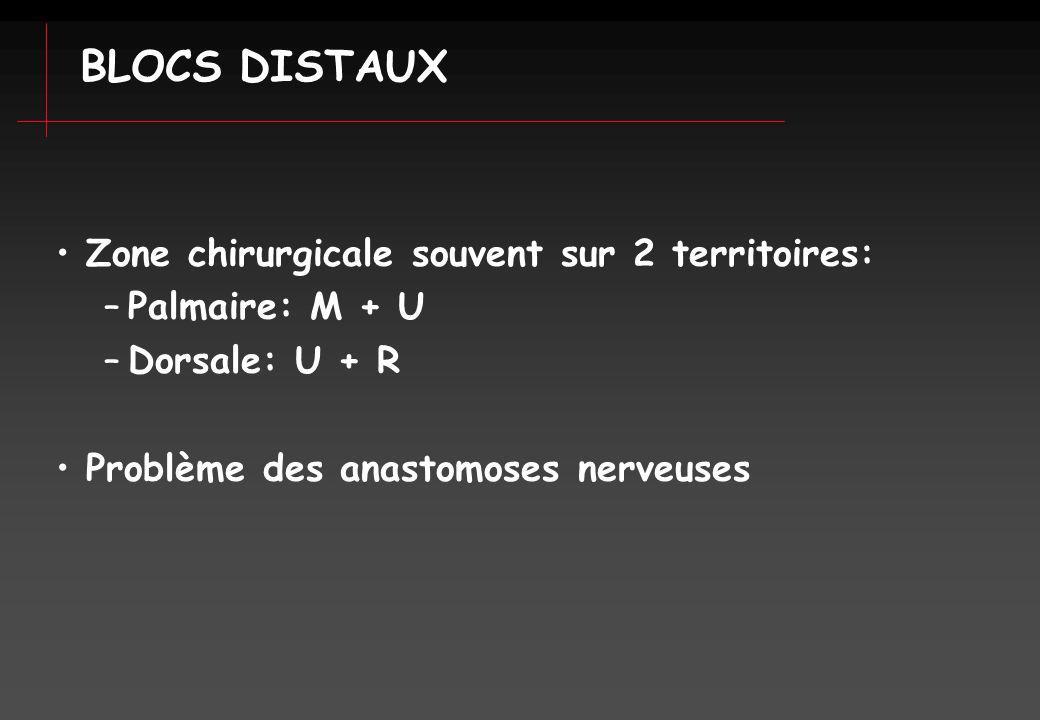 BLOCS DISTAUX Zone chirurgicale souvent sur 2 territoires:
