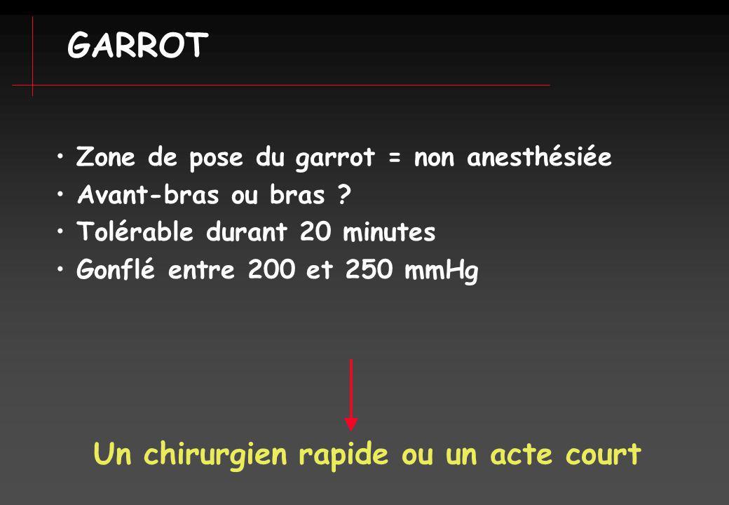 GARROT Un chirurgien rapide ou un acte court