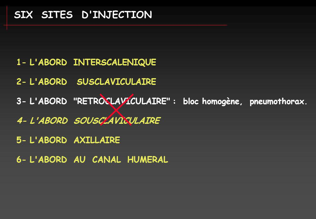 SIX SITES D INJECTION 1- L ABORD INTERSCALENIQUE
