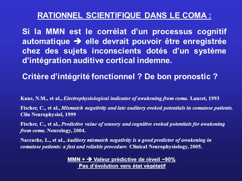 RATIONNEL SCIENTIFIQUE DANS LE COMA :