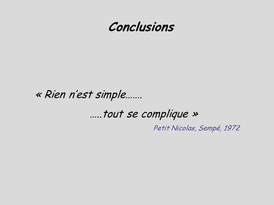 Conclusions « Rien n'est simple……. …..tout se complique »