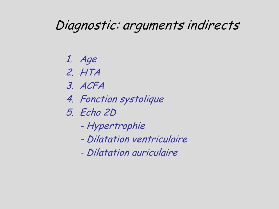 Diagnostic: arguments indirects