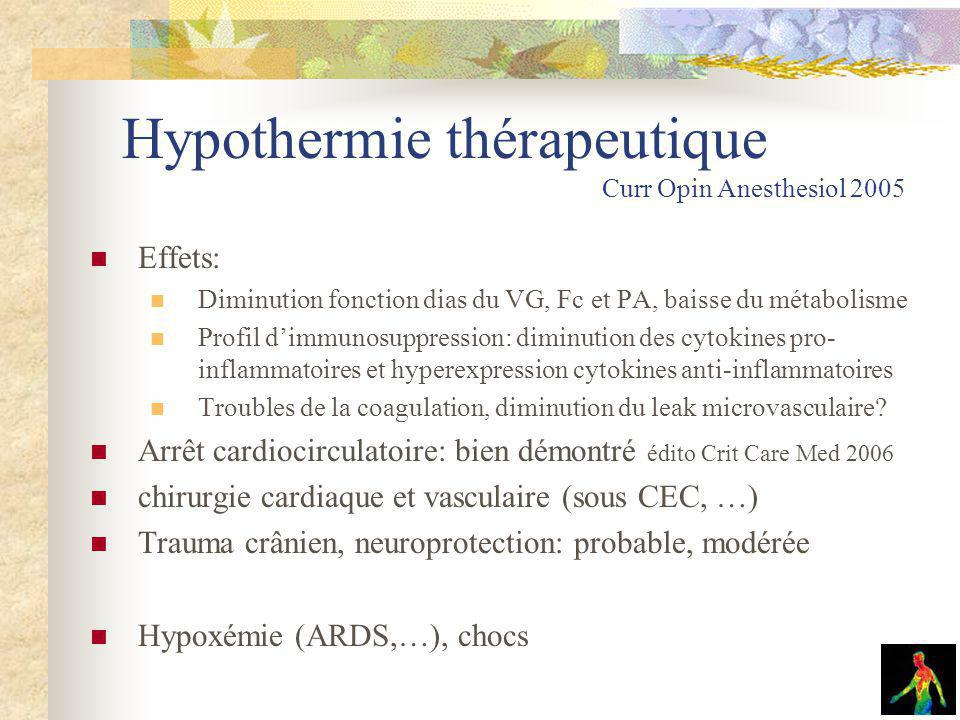 Hypothermie thérapeutique Curr Opin Anesthesiol 2005