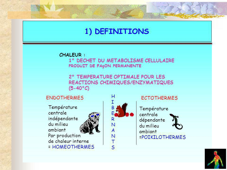 La physiologie 1) DEFINITIONS ENDOTHERMES ECTOTHERMES H I B E R N A T