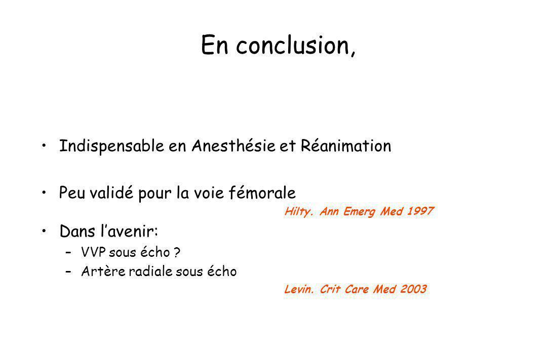 En conclusion, Indispensable en Anesthésie et Réanimation