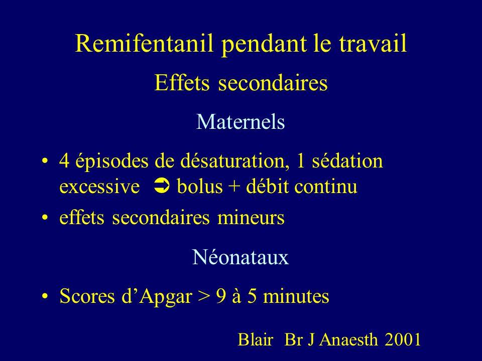 Remifentanil pendant le travail Effets secondaires