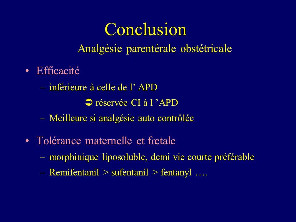 Analgésie parentérale obstétricale