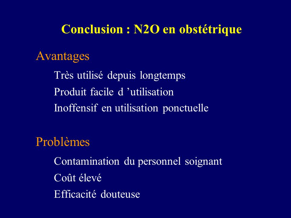 Conclusion : N2O en obstétrique