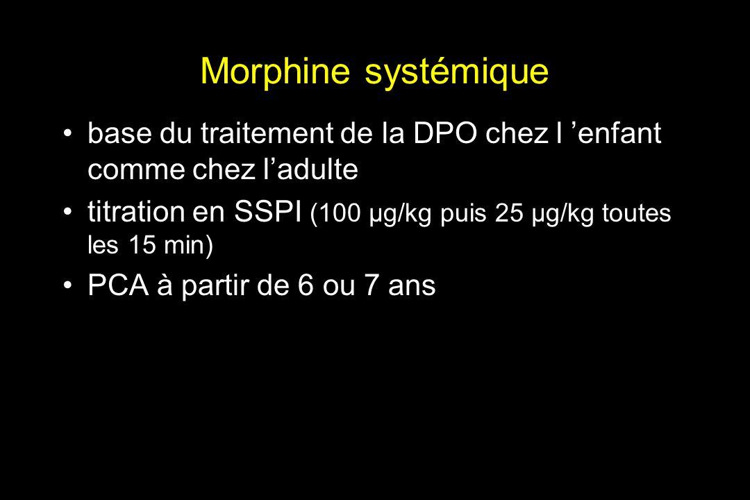 Morphine systémique base du traitement de la DPO chez l 'enfant comme chez l'adulte. titration en SSPI (100 µg/kg puis 25 µg/kg toutes les 15 min)