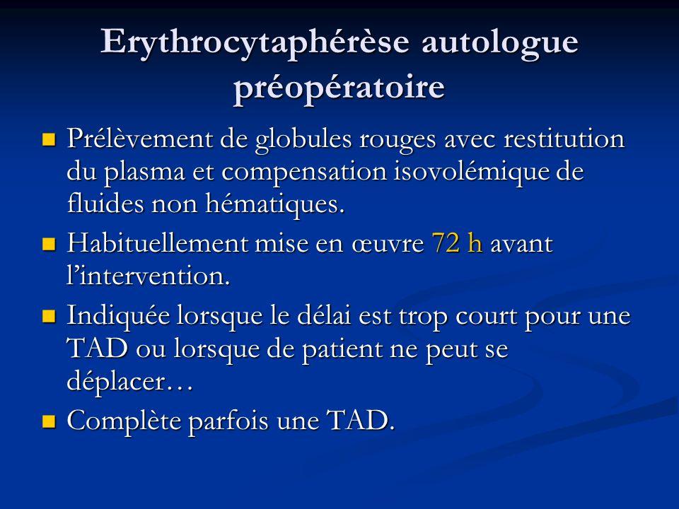 Erythrocytaphérèse autologue préopératoire