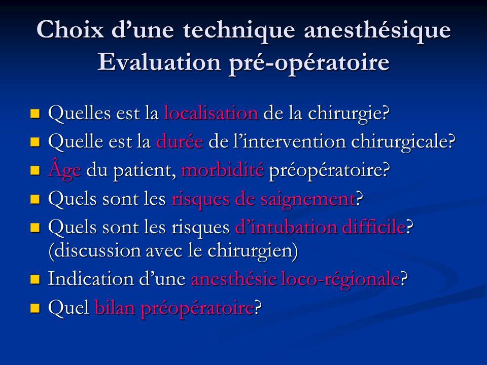 Choix d'une technique anesthésique Evaluation pré-opératoire