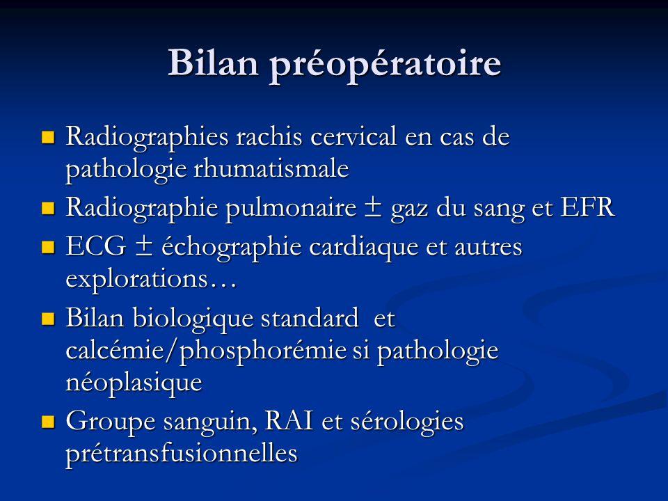 Bilan préopératoire Radiographies rachis cervical en cas de pathologie rhumatismale. Radiographie pulmonaire ± gaz du sang et EFR.