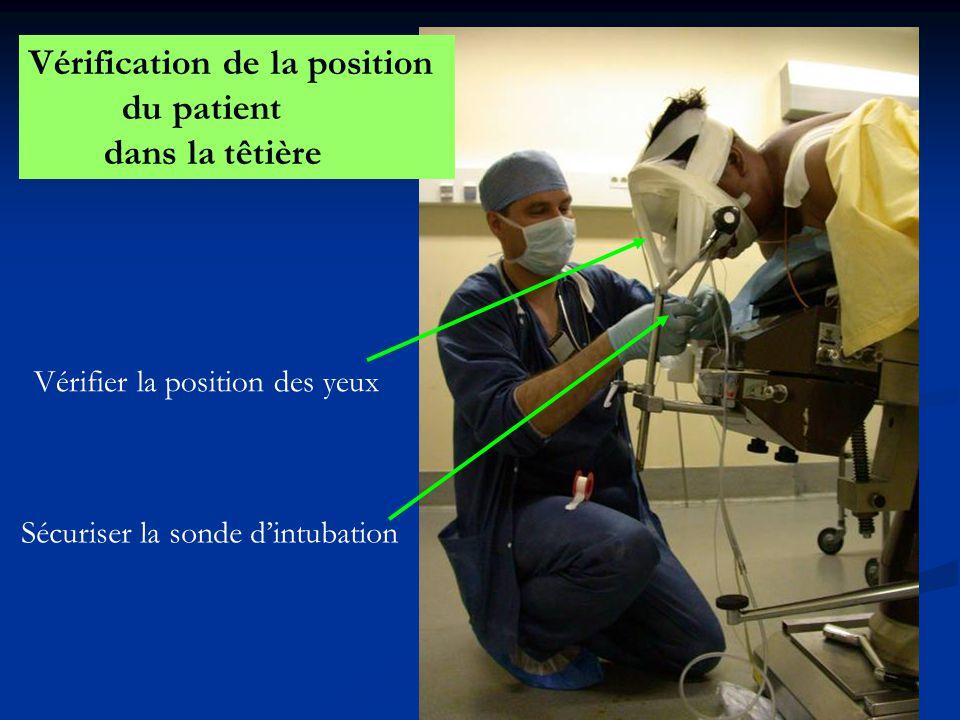 Vérification de la position du patient dans la têtière