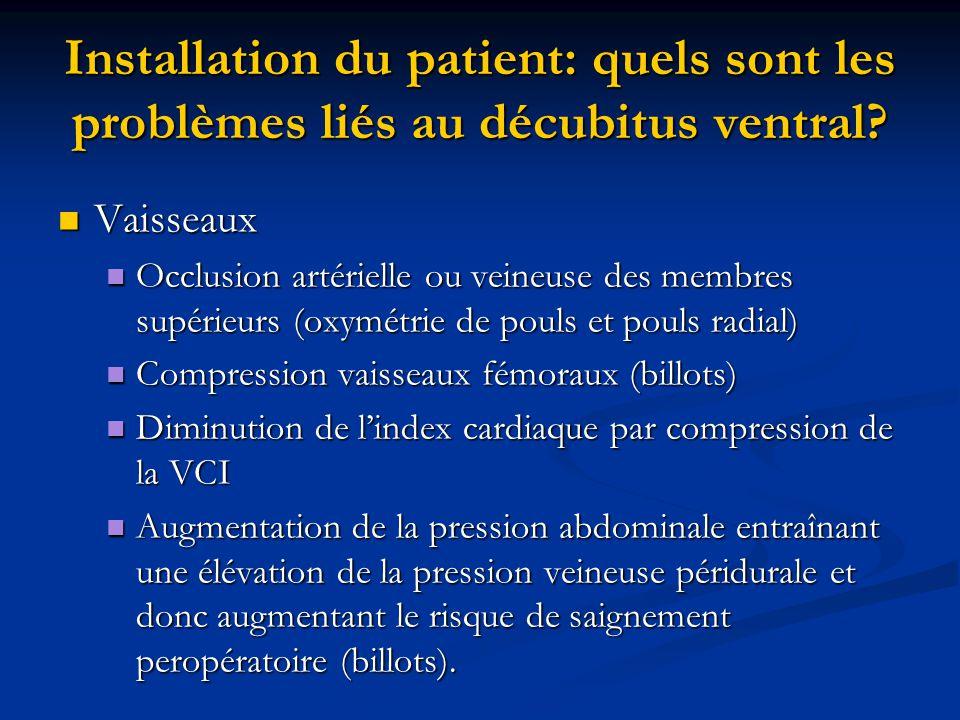 Installation du patient: quels sont les problèmes liés au décubitus ventral