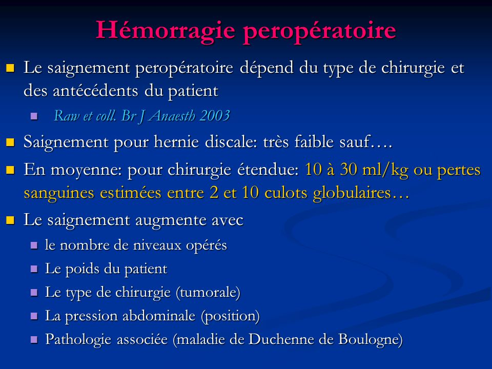 Hémorragie peropératoire