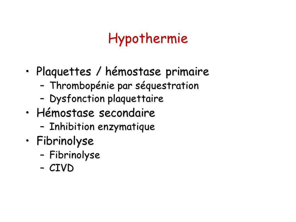 Hypothermie Plaquettes / hémostase primaire Hémostase secondaire