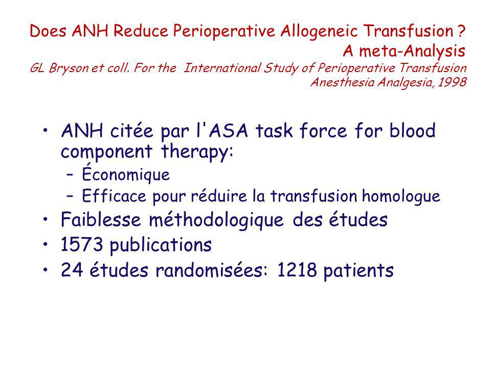 ANH citée par l ASA task force for blood component therapy: