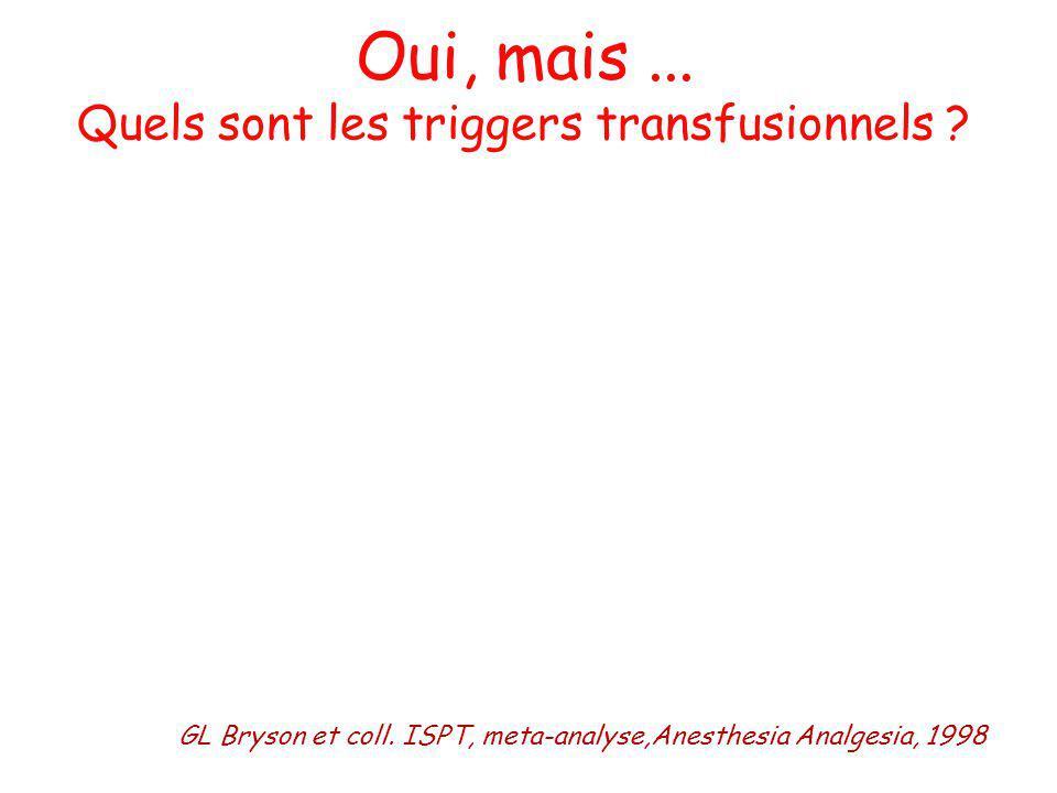 Oui, mais ... Quels sont les triggers transfusionnels