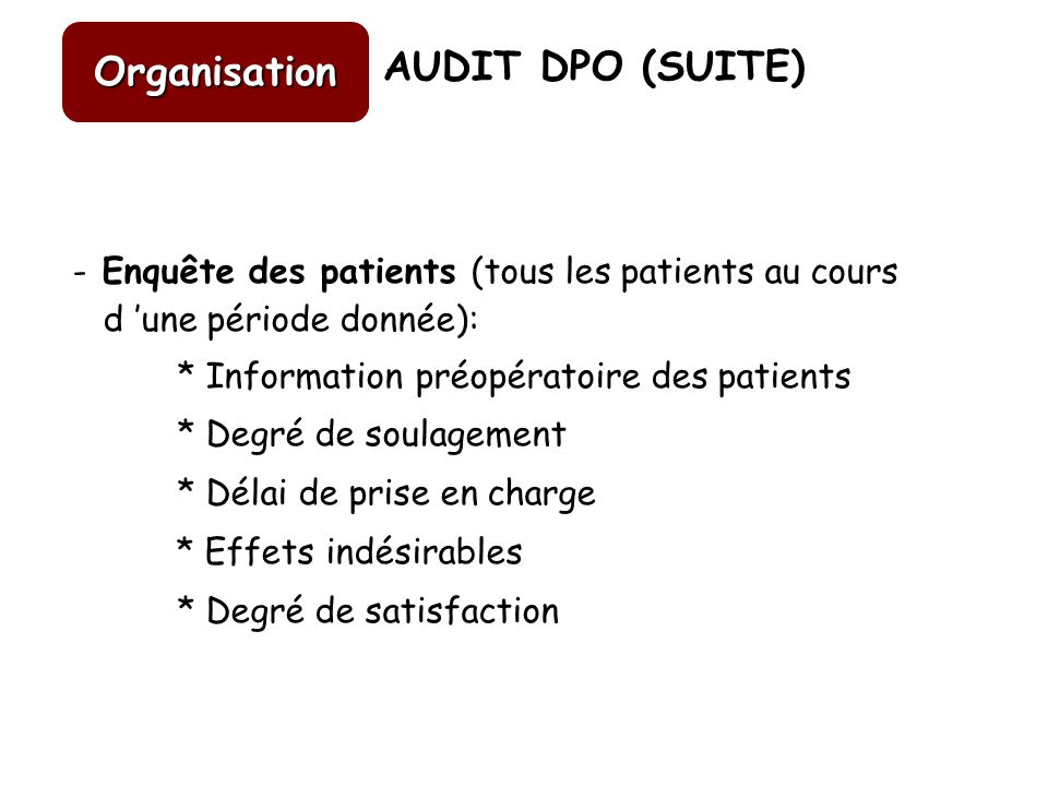 Organisation AUDIT DPO (SUITE)