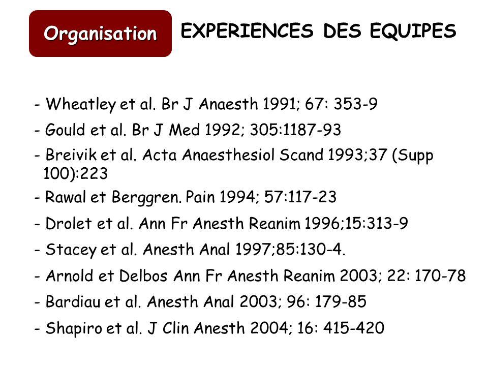 EXPERIENCES DES EQUIPES