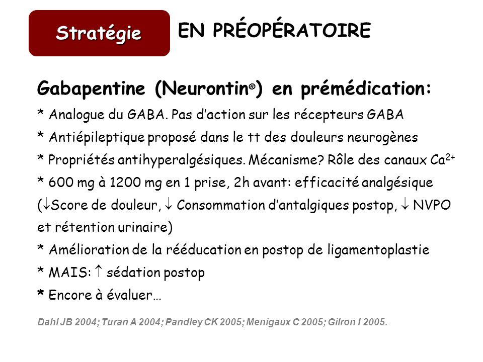 Gabapentine (Neurontin®) en prémédication: