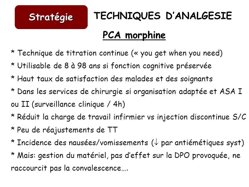 Stratégie PCA morphine