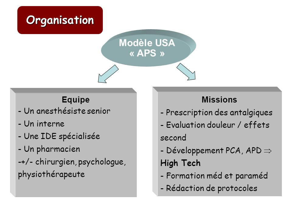 Organisation Modèle USA « APS » Missions Equipe