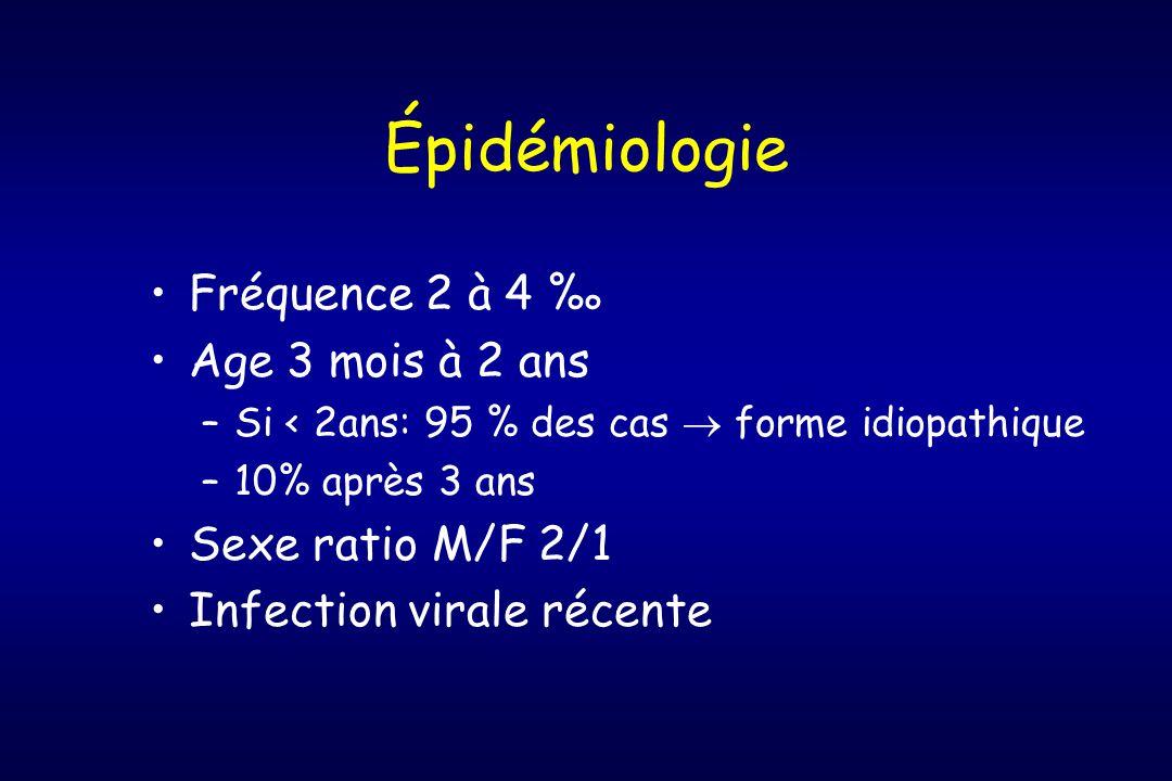 Épidémiologie Fréquence 2 à 4 ‰ Age 3 mois à 2 ans Sexe ratio M/F 2/1