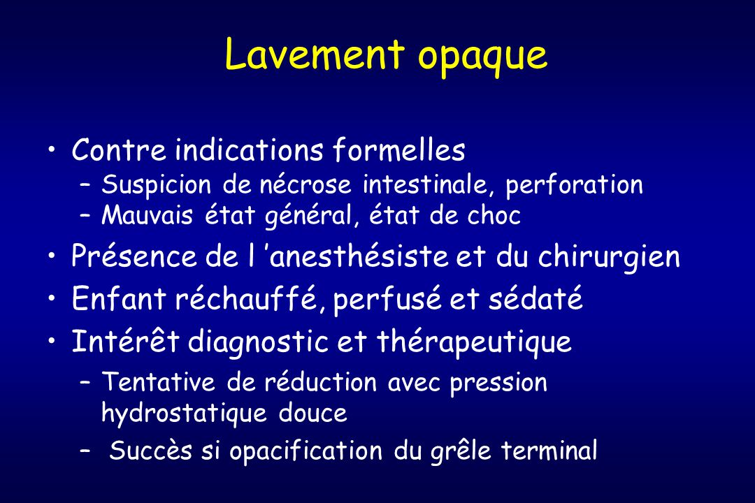 Lavement opaque Contre indications formelles