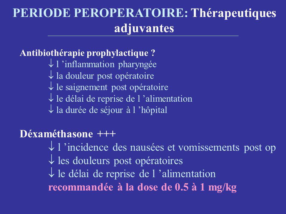 PERIODE PEROPERATOIRE: Thérapeutiques adjuvantes