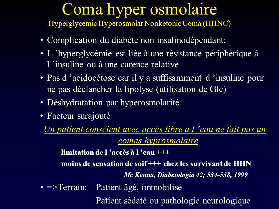Coma hyper osmolaire Hyperglycemic Hyperosmolar Nonketonic Coma (HHNC)
