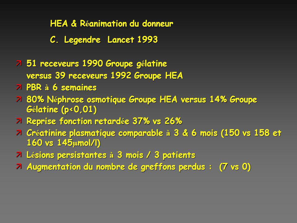 HEA & Réanimation du donneur C. Legendre Lancet 1993