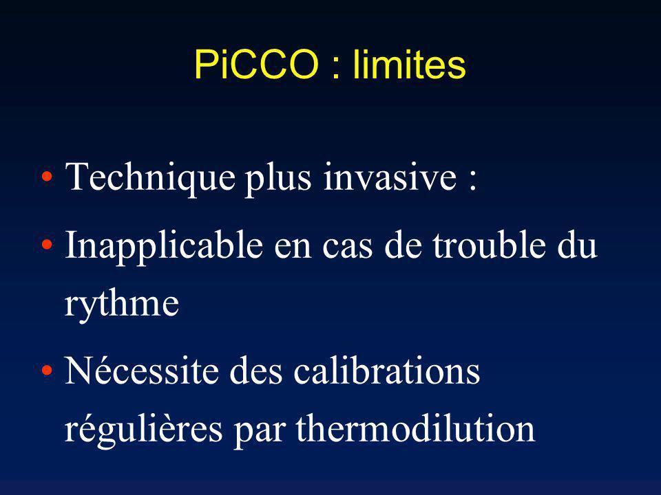 PiCCO : limites Technique plus invasive : Inapplicable en cas de trouble du rythme.