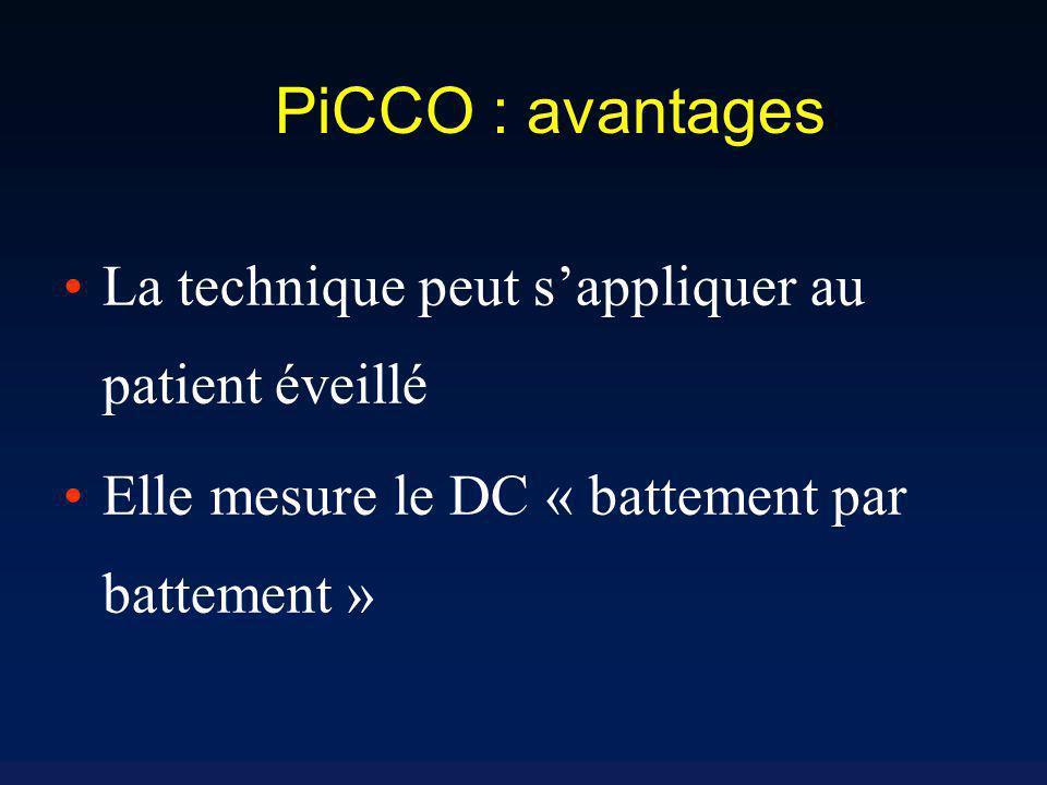 PiCCO : avantages La technique peut s'appliquer au patient éveillé