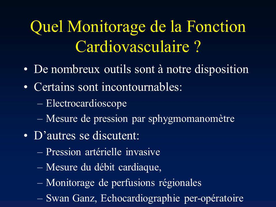 Quel Monitorage de la Fonction Cardiovasculaire