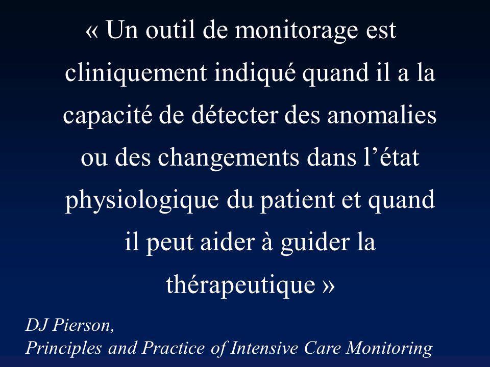 « Un outil de monitorage est cliniquement indiqué quand il a la capacité de détecter des anomalies ou des changements dans l'état physiologique du patient et quand il peut aider à guider la thérapeutique »