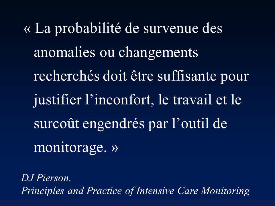 « La probabilité de survenue des anomalies ou changements recherchés doit être suffisante pour justifier l'inconfort, le travail et le surcoût engendrés par l'outil de monitorage. »