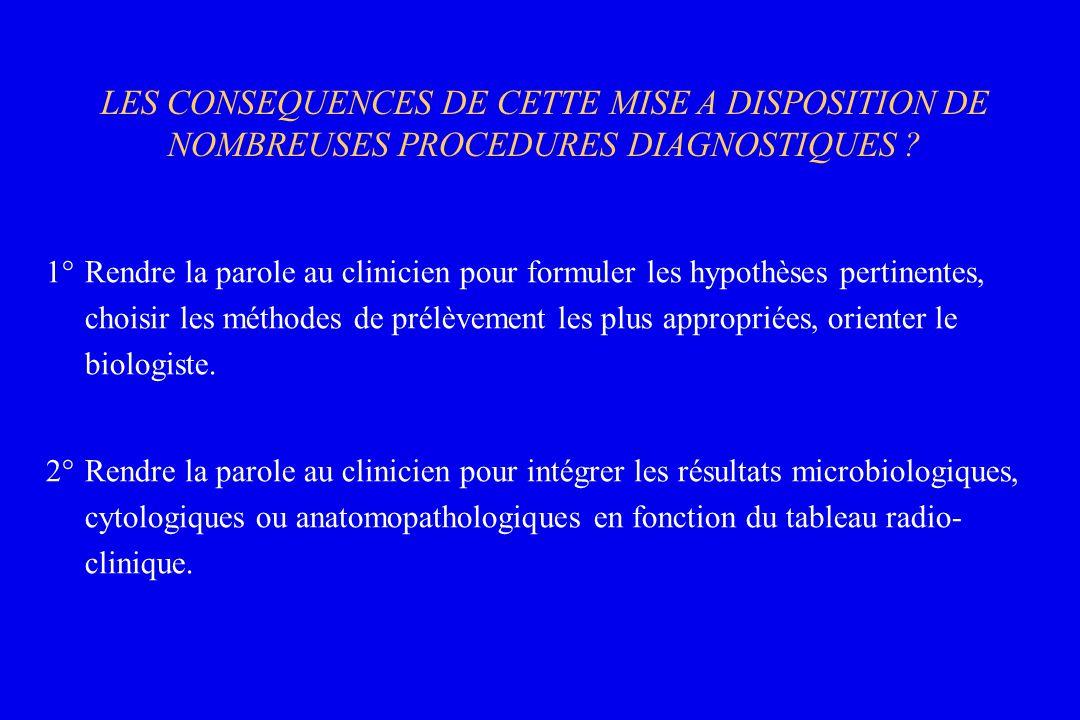 LES CONSEQUENCES DE CETTE MISE A DISPOSITION DE NOMBREUSES PROCEDURES DIAGNOSTIQUES
