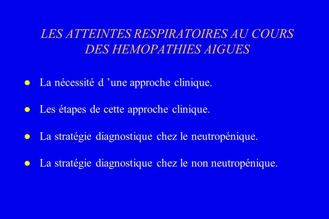 LES ATTEINTES RESPIRATOIRES AU COURS DES HEMOPATHIES AIGUES