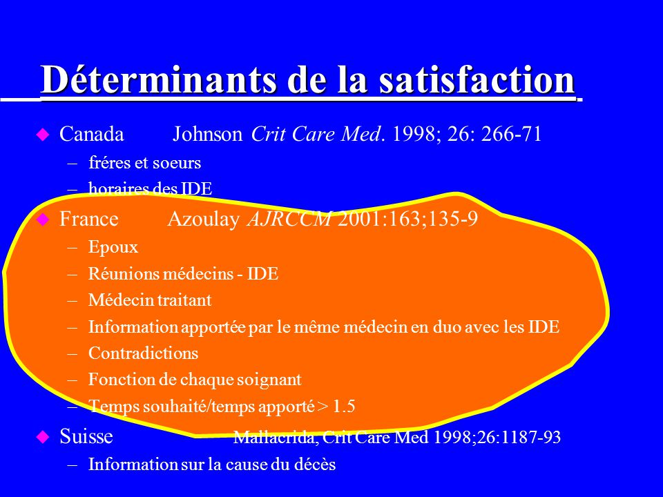 Déterminants de la satisfaction