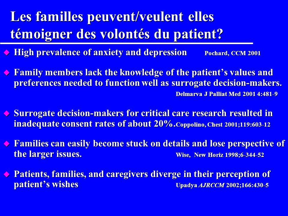 Les familles peuvent/veulent elles témoigner des volontés du patient
