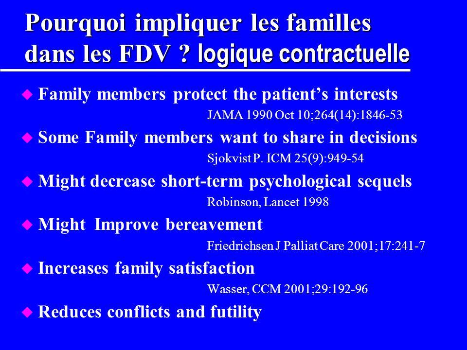 Pourquoi impliquer les familles dans les FDV logique contractuelle